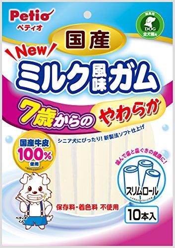 ペティオ (Petio) 犬用おやつ NEW 国産 ミルク風味ガム 7歳からのやわらか スリムロール ビーフ 10本入