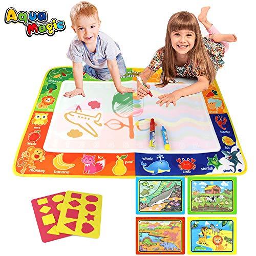 PUZ Toy Geschenke für 2-4 Jährige Mädchen Aqua Zauber Doodle Matte Wasser Gekritzel Matte 75 * 50cm Kinder Spiele ab 2 Jahre Jungen Malen Wassermalbuch mit 3 Stiften Weihnachten Geburtstag Geschenke