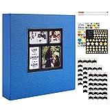 Benjia - Álbum de fotos tradicional autoadhesivo, gran formato en blanco, autoadhesivo, tejido con adhesivo para 10 x 15, 11,5 x 15 y 13 x 18 (25 hojas/50 páginas), color azul