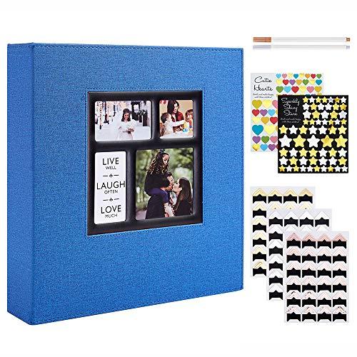 Benjia Album fotografico autoadesivo, formato XXL, 30 x 30 cm, lato bianco, per matrimonio, famiglia, album fotografico con adesivi e angoli per foto per 10 x 15 A4 A5 A6 (25 fogli/50 pagine, blu)
