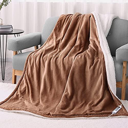 Couverture chauffante électrique 130x180cm, couverture réversible en flanelle avec arrêt automatique 6 heures et 6 réglages de chauffage, chauffage rapide et couverture chauffante confortable lavable