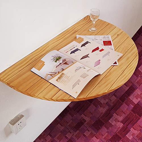 G.B.H. Mesa abatible de Pared/Mesa Plegable semicircular Mesa de Comedor de Cocina/Escritorio Infantil (Blanco/Color Madera)