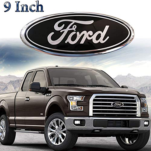 9inch Ford Emblem, F150 Emblem Oval 9'X3.5' Black Ford Front Grille Tailgate Emblem Decal Badge Nameplate Fits for 04-14 F250 F350,11-14 Edge,11-16 Explorer,06-11 Ranger, Ford Decorative Accessories