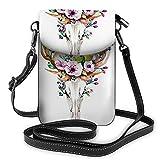 Beabes Western Mystical Deer Skull Crossbody Cell Phone Purse Rose Flowers Bohemian Vintage Animal Floral DeathWallet Handbag