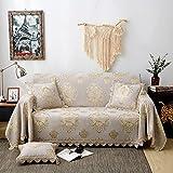 HNTYSM Dreidimensionaler Jacquard Sofa überzug aus Chenille Sofabezug 2 sitzer Europäischer Sofaüberwurf Voller Abdeckung Sofa Cover mit Spitze Sofadecke (180X240cm, Grau)