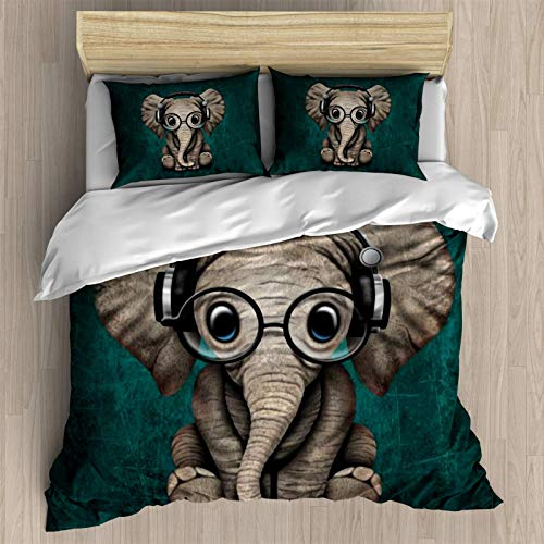 Cute Baby Elephant Dj Wearing Headphones and Glasses on Blue Duvet Cover Set Little Elephant with Glasses,Decorative 3 Piece Bedding Set with 2 Pillow Shams.