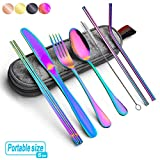 Rainbow Travel flatware set with Case Stainless Steel silverware Tableware Set colorful...