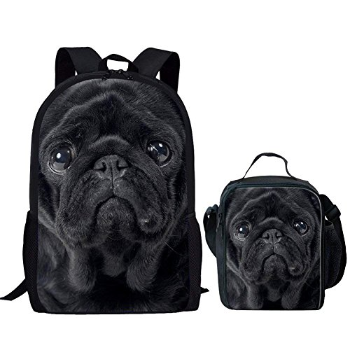 HUGS IDEA Black Pug Print Children School Backpack Set Boys Schoolbag Daily Daypack with Lunch Bag