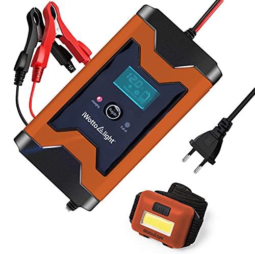 iWotto E light Cargador Batería Coche o Moto 6A 12V - Completamente Automático con Pantalla Digital Inteligente - Múltiples Protecciones para Baterías de Auto, Moto , Barco, Quad, Caravanas
