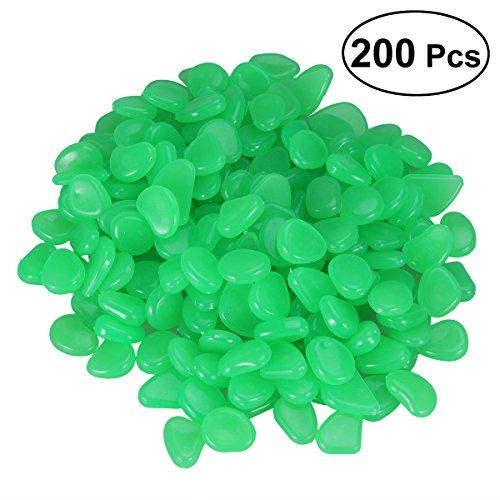 OUNONA 200 st¨¹cke Leuchtsteine. leuchtende Kiesel Fluoreszierende Steine f¨¹r Aquarium Ggarten Hof Dekorationen (Gr¨¹n)
