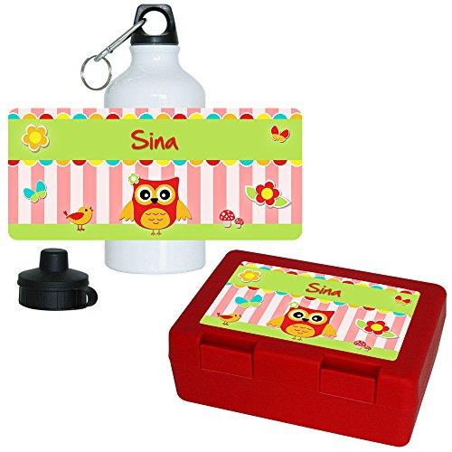 Brotdose + Trinkflasche Set mit Namen Sina und Eulen-Motiv für Mädchen | Aluminium-Trinkflasche | Lunchbox | Vesper-Box