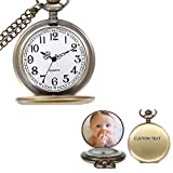 Top WH Personalized Vintage Quartz Pocket Watch Smooth Metal Classic Pendant Watch Custom Photo/Text Watches for Men Women Gift for Birthday Christmas Holiday