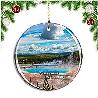 イエローストーングランドプリズマティックスプリングモンタナ米国クリスマスデコレーションオーナメントクリスマスツリーペンダントデコレーションシティトラベルお土産コレクション磁器2.85インチ