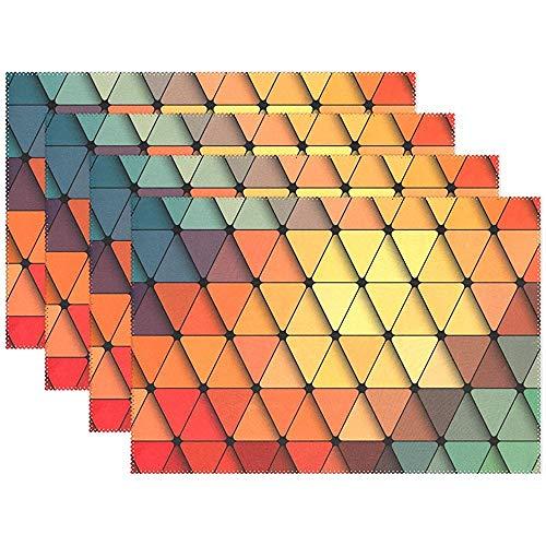 sunnee-shop Kleurrijke vintage marmer keramische tegels driehoek wasbare tafelset voor keukentafel hittebestendige antislip keukentafelset van 6