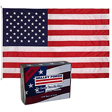 Valley Forge, American Flag, Nylon PERMA-NYL, 8'x12', 100% Made in USA, Heavy-Duty Brass Grommets, Sewn Stripes and Embroidered Stars