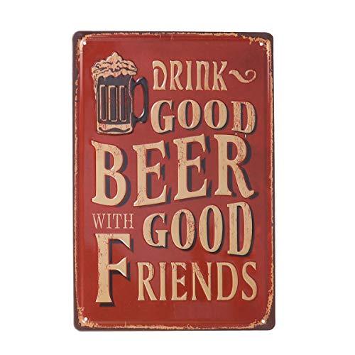 VOSAREA Poster in Metallo placca di Latta Vintage per caffetteria Bar Pub Targa in Metallo Targa in Metallo Art Decor (Bere Birra buona con buoni Amici)