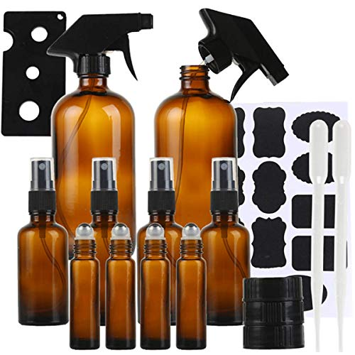 Glass Spray Bottle Kits, Hovico Amber Glass Spray Bottles Suit,Empty Amber Spray Bottle Refillable Container for Essential Oils,Containers for Cleaning Products or Aromatherapy (17OZx2,2OZx4,0.35OZx4)