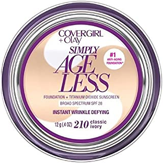 CoverGirl & Olay Simply Ageless Foundation, Classic Ivory [210] 0.40 oz (Pack of 2)