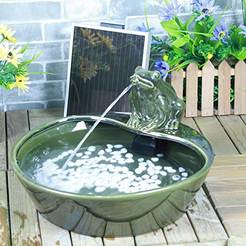 Direct Global Trading Ceramic Frog Solar Fountain Water Feature with LED Light and Battery Back Up