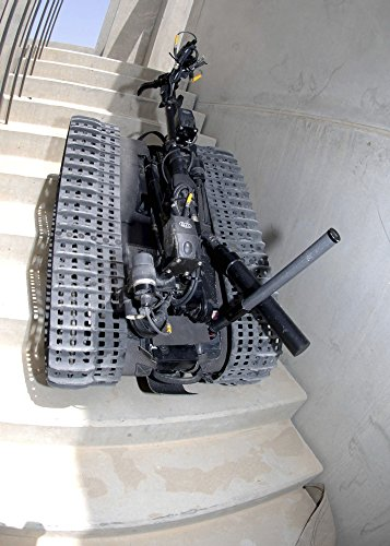 Posterazzi A Talon 3B robot unit climbing a flight of stairs during a training mission in Bahrain Poster Print, (24 x 33)