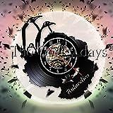 Njuxcnhg Vinyl Record Wall Clock-Niedliche antarktische Pinguin-Familien-modernes Design-Wohnkultur-Wand-Uhr für Südpol-Seevogel-Pinguin-Geschenk