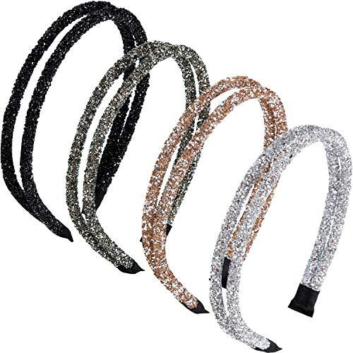 4 Piezas Diadema de Diamantes de Imitación Banda de Cabeza Lateral Doble Diadema de Cristal Delgada para Mujeres Chicas Accesorios de Pelo