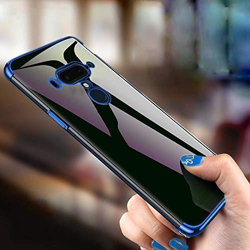 nobellgo 360° Full Cover Hülle Für HTC U12+ Plus und ECHTGLAS GLASFOLIE Hülle Tasche Schutz inkl. Original ECHTGLAS PANZERFOLIE (Blau)