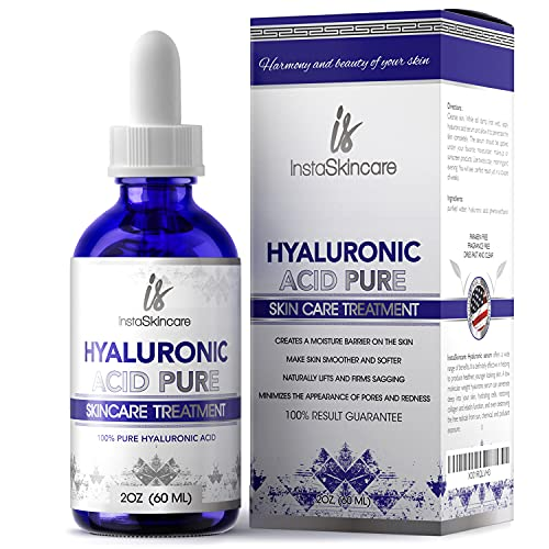 Hyaluronic Acid for Face - 100% Pure Medical Quality Clinical Strength Formula - Anti aging serum for your skin and lips (2 oz)