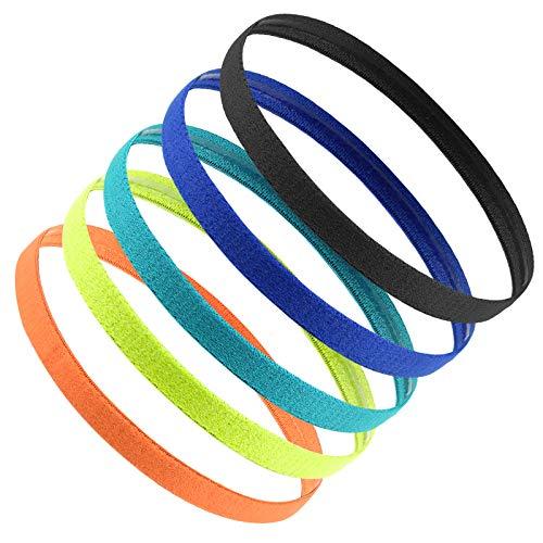 Jinlaili 5 STK Sport Stirnband Dünn, Elastische rutschfeste Stirnbänder, Sport Haarband Silikon für Damen, Frauen, Herren, Mädchen, Kinder