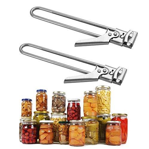 VINNAR 2 piezas Abridor de tarros con tapa ajustable y abridor de botellas, ajustable, multifuncional de acero inoxidable, abridor de latas y agarradera, abridor de botellas maestro