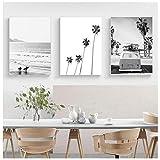 Póster de playa tropical paisaje impreso Palm Beach Surf Wall Art Canvas blanco y negro Fotografía fotos decoración del hogar 60 x 90 cm x 3 sin marco