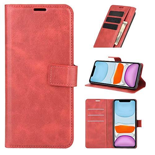 LORMI Funda para LG Stylo 7 5G de Billetera con Tapa de Cuero Ultra Slim Premium PU con Bolsillos para Tarjetas y Soporte Cuero Tapa Piel Billetera&Rojo
