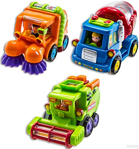 WolVolk Set of 3 Push and Go Friction Powered Car Toys for Boys - Street Sweeper Truck, Cement Mixer Truck, Harvester Toy Truck - Cars Have Automatic Functions