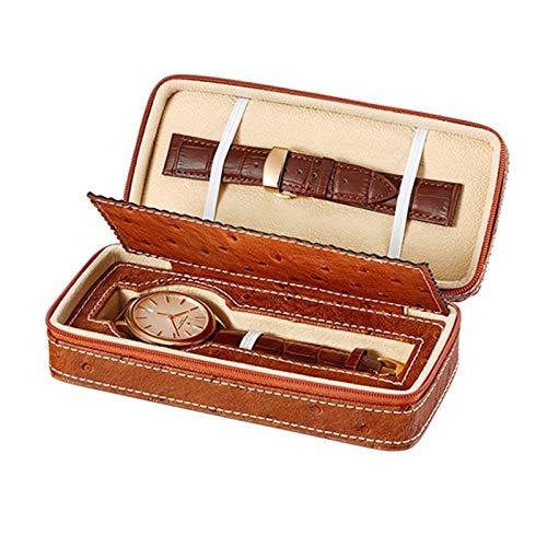 Jlxl Caja de reloj portátil para hombres y mujeres de piel sintética, organizador de almacenamiento individual, estuche de viaje, diseño de cremallera, accesorios de forro de terciopelo (color marrón
