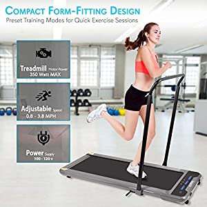 SereneLife Folding Digital Display Electric Treadmill – Fitness Training Cardio Equipment for Home Workouts, Jogging, Walking Exercise – Compact Minimal Profile Running Belt