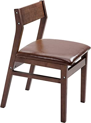 Solid Wood Dining Chair,for Home Balcony Leisure Leather Reception Chair Modern Simplicity Household Desk Chair (Color : Walnut Color)