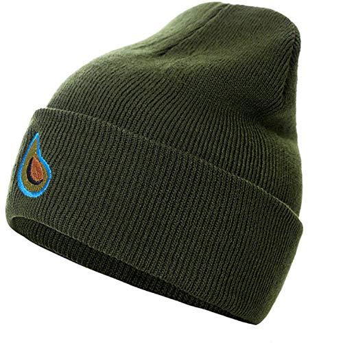 Empty heren winter outdoor sport vrije tijd waterdruppels patroon verdikt stretch cap zachte warme gebreide muts groen