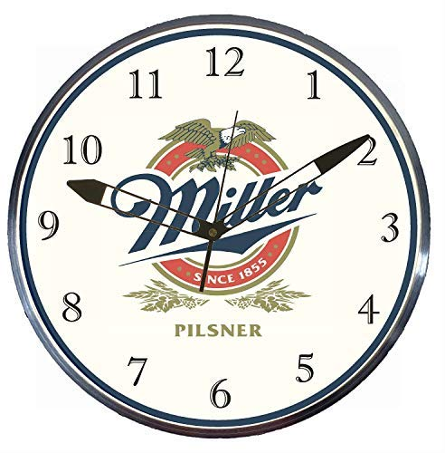"Price comparison product image Checkingtime LLC - 15"" Miller Pilsner LED Lighted Pam Advertising Clock,  Metal Shell,  Real Glass"