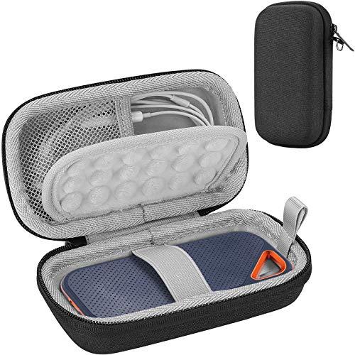 ProCase Hart Eva Festplatten Tasche Case Reise Schutz Hülle für 500GB 1TB 2TB SanDisk Extreme PRO Portable External SSD, Stoßfest Tragbar -Schwarz