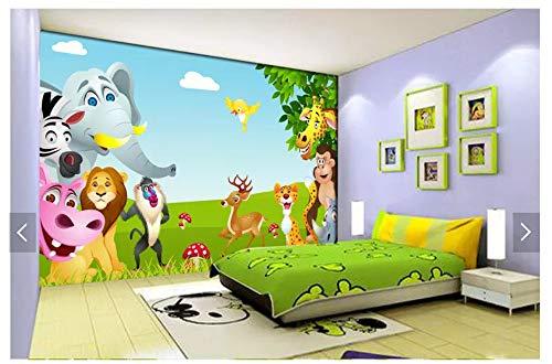 Cielo azul, nubes blancas, hierba, árbol grande, animal de caricatura, habitación infantil, fondo de pared, 350 cm x 245 cm (137.8 por 96.5 pulg.)