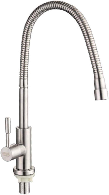 SEBAS Home Spülbecken Küche 304 gebürstet Universal Wasserhahn Einlochmontage Edelstahl 360 drehbare Becken Wasserhahn