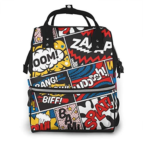 Multifunctional Diaper Bag Backpack, Anti-Water Toddler Nursing Nappy Backpack Baby Bag with Insulated Pockets, Modern Pop Art Superhero Comic Pattern Best Travel Bag Tote