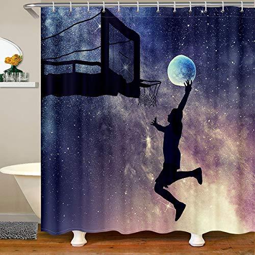 Jungen Basketball Wasserdichtes Duschvorhang Textil 3D Ball Stoff Duschvorhang 180x210 Teenager Männer Galaxis Basketball Wettkampfspiele Mond Sports Theme