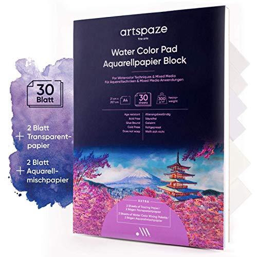 artspaze Aquarellpapier DIN A4, Aquarell Block, Watercolour Paper Pad, 300g, 30 Blätter mit zusätzlich 2 Blätter Transparentpapier und 2 Blätter Mischpapier mit guter Wasserfestigkeit (A4)