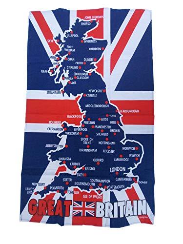 Mappa della Gran Bretagna 100% Cotone Qualità Strofinaccio