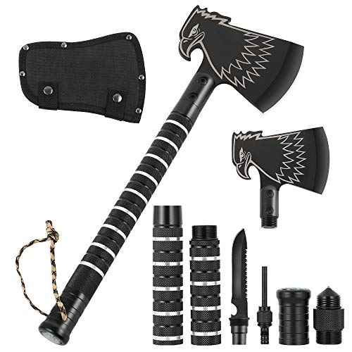 Liheya Camping Axe, Tactical Hatchet with Sheath, Portable Camp Axe for Outdoor Hiking Hunting Backpacking Emergency - Updated Version