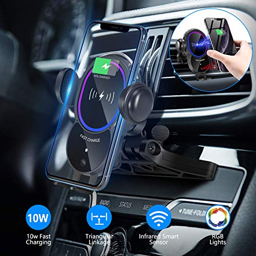 WALOTAR Wireless Car Charger CD Slot Phone Mount, Auto-Clamping 10W Qi Fast Charging Infrared Smart Sensor Air Vent Cell Phone Holder,Compatible with iPhone 11 Pro Max Xs Xr X 8,Samsung S10 S9 Note 10