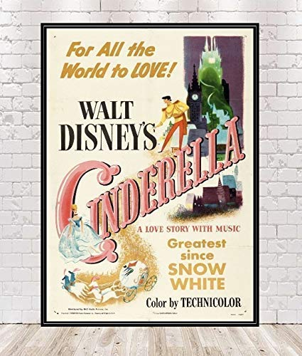 Columbus Mall Free shipping Cinderella Poster Vintage Disney Posters Movie Attraction