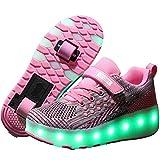 Good-time Kinder Junge Mädchen Led Schuhe Sneaker Mit Rollen 7 Farbe Farbwechsel Wheels Skate Schuhe(Doppelrad-Weiß Grau Pink,40 EU)