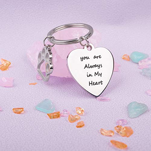 Pet Dog Memorial Gift Keychain for Remembrance Loss of Cats You are Always in My Heart Sympathy Gift �Owner Puppy DIY Engraved�Key Ring Jewelry